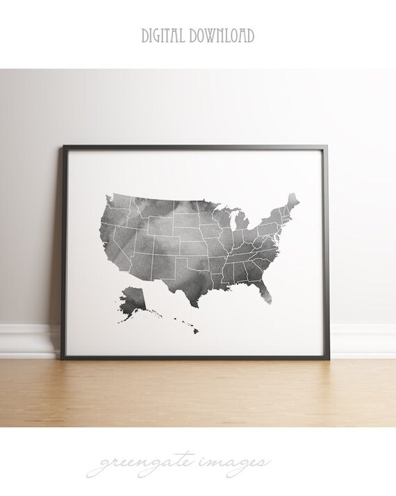 United States Map Printable - usa art large, download, dorm art, map art,  gray watercolor, minimalist art, usa outline map, gallery wall