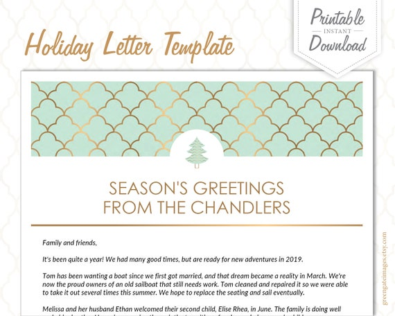 Family Letter Template Holiday Letter Template Christmas Etsy