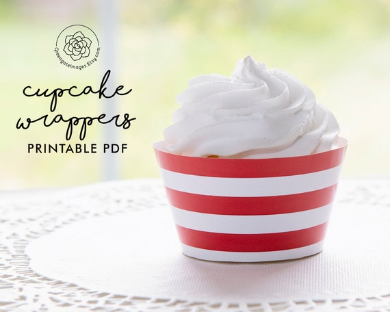 Instant Download-DP427 4th of July Cupcake Wrappers Independence Day Party Decor Printable Cupcake Wrappers