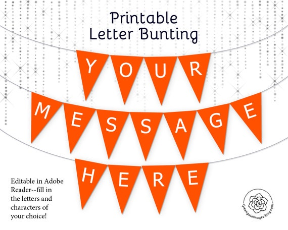 graphic about Printable Letter for Banners known as Orange Letter Banner Bunting Printable - editable banner, occasion decor, social gathering printable, custom made banner information, template, birthday banner