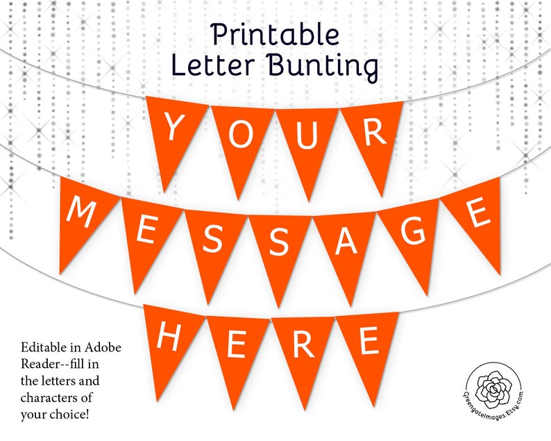 graphic regarding Printable Letters Banner identify Orange Letter Banner Bunting Printable - editable banner, bash decor, social gathering printable, personalized banner concept, template, birthday banner