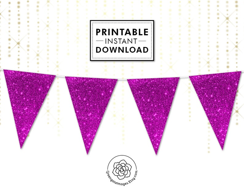 printable garland Magenta Glitter Bunting bachelorette sparkly digital banner glitter bunting party printable violet party decor
