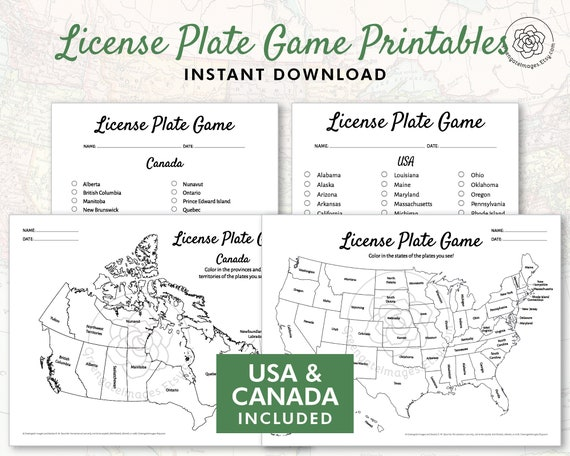 License Plate Game Printable - US and Canada, road trip games, geography on state license plates, ohio license plates, preamble license plates, florida license plates, government license plates, germany license plates, pennsylvania license plates, front license plates,