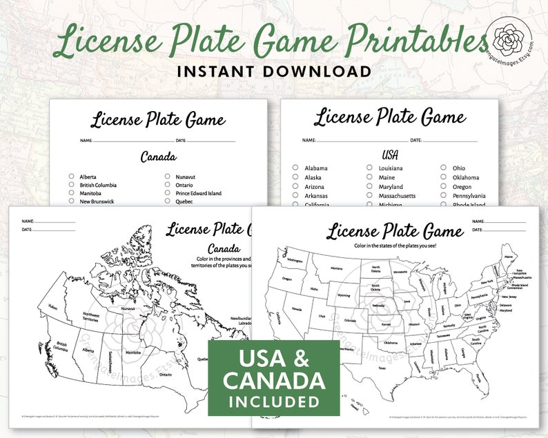image relating to License Plate Game Printable identified as License Plate Video game Printable - US and Canada, street vacation video games, geography printables for youngsters, online games for motor vehicle, US place record coloring map