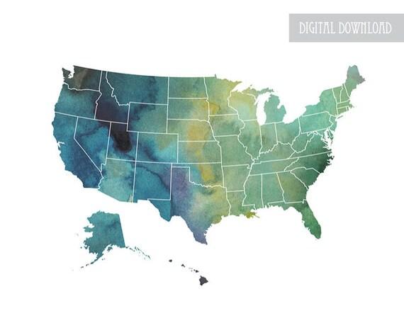USA Map Art-usa Aquarell, Wandkunst, digitaler Download, Schlafkunst,  Umrisskarte, Reisekarte, vereinte Staaten, Plakatgröße, uns Wandkunst