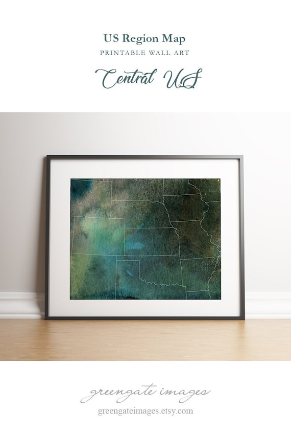 Central US Map Art - regional map, usa region art, midwest, central states,  map decor, state outline, abstract map, green watercolor, kansas