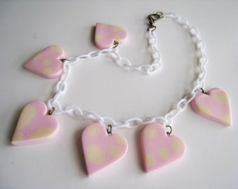 Polka Dot Hearts Necklace-1940's 1950's Celluloid Style Resin Hearts