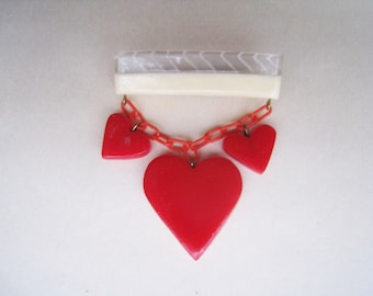 Two-Tone Bar with Red Hearts Brooch -1940's 1950's Style Bakelite Resin