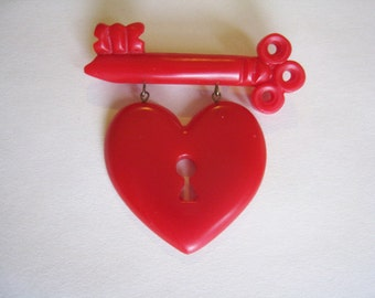 Red MacArthur Style Heart Brooch -1940's Style Resin