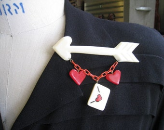Sending My Love- Red Heart and Love Letter Arrow Brooch -1940's 1950's Style Resin