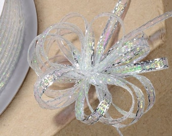 SILVER IRIDESCENT LUREX PULL BOW RIBBON 3mm x 25 METERS WEDDING GIFT WRAP CRAFT
