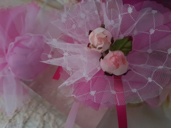 6 pack has organdy flowers fuschia for dragees baptism communion wedding