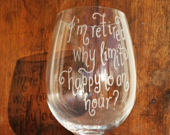 Personalised Retirement Wine Glass, Hand Engraved Wine Glass, Custom Wine Glass, Etched Wine Glass, Gift for Mum, Gift for Dad, Leaving Gift