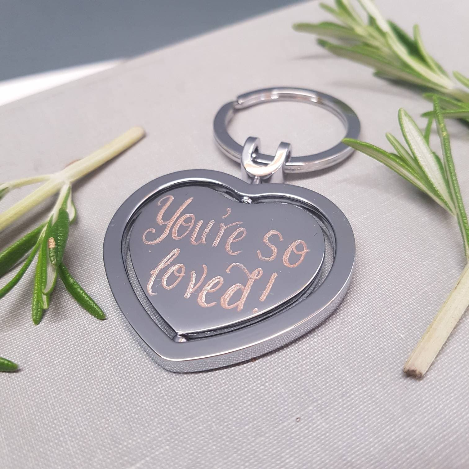 personalised keyring silver plated key ring engraved heart christmas gift ideas gifts for dad bridesmaid gift wedding favours