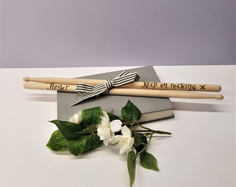 Personalised Wood Drumsticks, Custom Musician Gift, Drummer Present, Gift for Him, Husband Gift, Wooden Anniversary, Percussionist