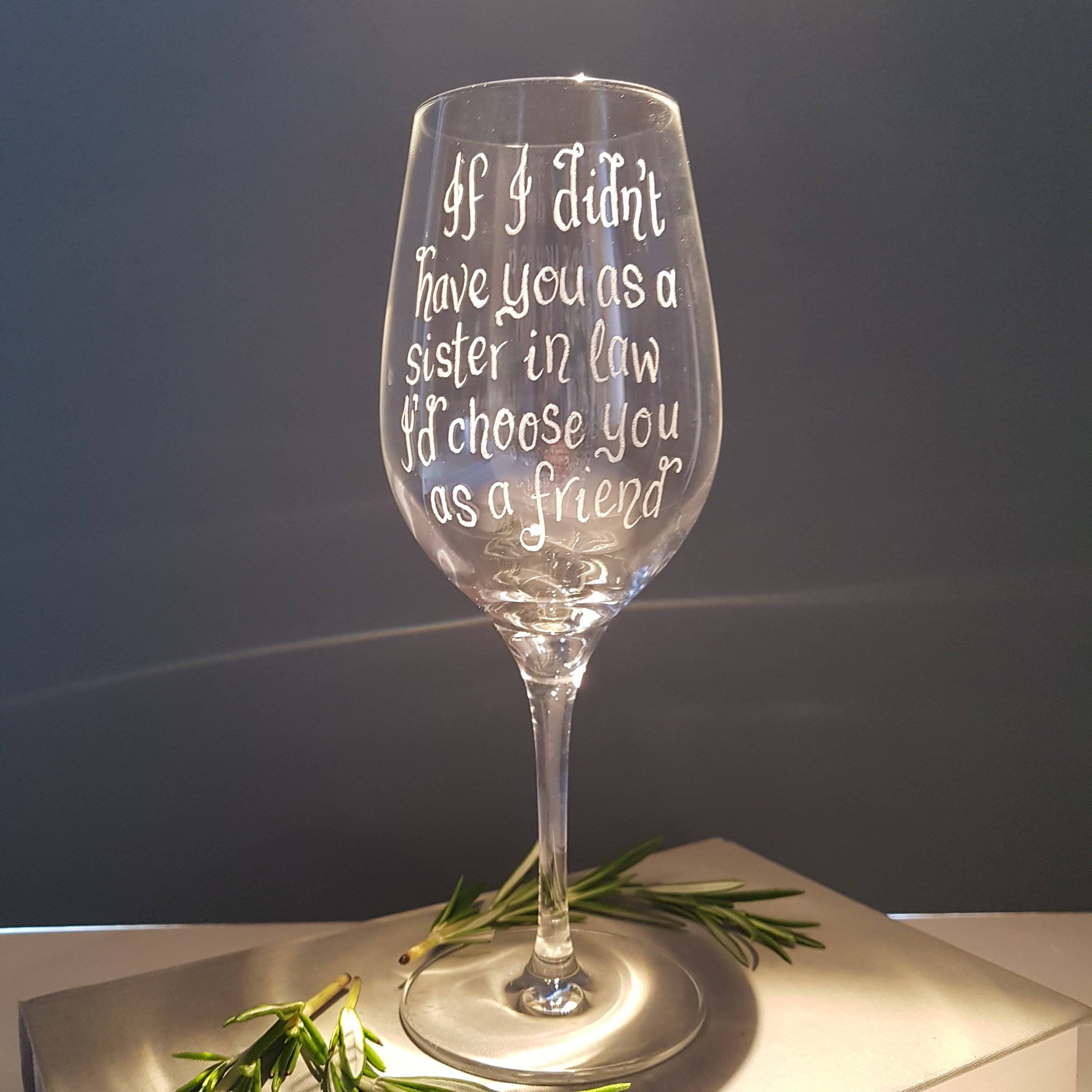 Personalised Wine Glass Custom Gift Idea Birthday Wedding Sister In Law Father Of The Bride BFF