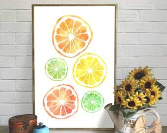 Citrus Watercolor Print