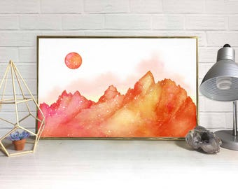Mountainscape with Moon Watercolor (Orange)