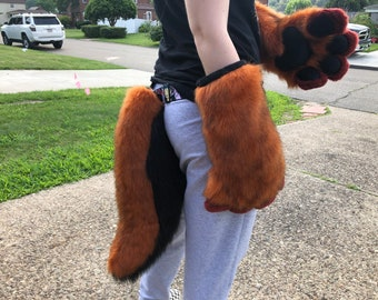 Fursuit Handpaws & Tail.Maroon, Amber and Black. Unisex, one size fits all.comfortable wear