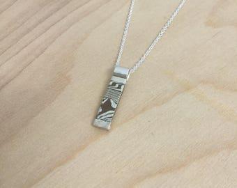 Vertical Mokume Gane Bar Pendant Necklace