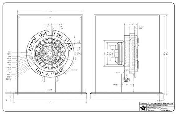 Iron man arc reactor mark 1 blueprint digital download etsy image 0 malvernweather Choice Image
