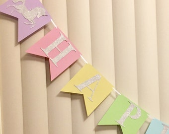 Happy Birthday Unicorn Banner in Pastels