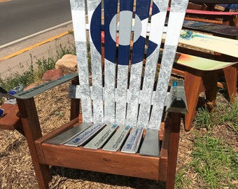 Marbled Gray Chairs, Custom Adirondack Chairs, Recycled Ski Chair, Douglas  Fir Wooden Chair, Colorado Flag Wood Chair, Unique Gift
