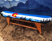 Colorado Mountain Mural Single Snowboard Bench, boot bench, mud room bench, hallway bench, hand painted, front porch bench, coffee table
