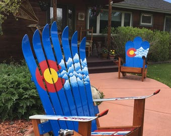 Adirondack Chair, Ski Chairs, Colorado Mountains Mural, Adirondack Recycled Ski  Chair, Patio Chair, Outdoor Chairs, Porch Furniture