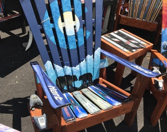Adirondack Chair, Patio Chair, Outdoor Furniture, Wood Chair, Recycled  Chairs, Colorado Bears Painting, Mountain Moon Mural, Ski Chair