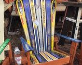 Premium Adirondack Ski Chair with Natural Wood Base, Wood Adirondack Chair, Recycled Ski Chair, Upcycled Ski Chair, Patio & Deck