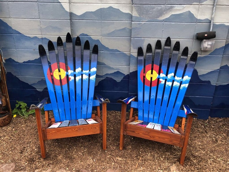 Superb Set Of 2 Custom Adirondack Ski Chairs Colorado Flag Plus Mountains And Night Sky Recycled Ski Chair Douglas Fir Wooden Chair Short Links Chair Design For Home Short Linksinfo