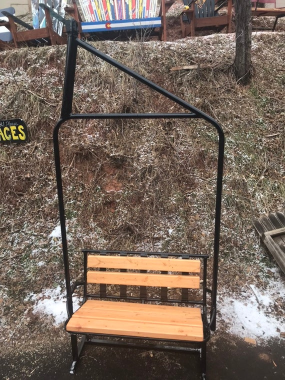 Magnificent Fully Repurposed Ski Chairlift Bench Powder Coated Black With Wooden Seat Original Lift Chair From Colorado Caraccident5 Cool Chair Designs And Ideas Caraccident5Info