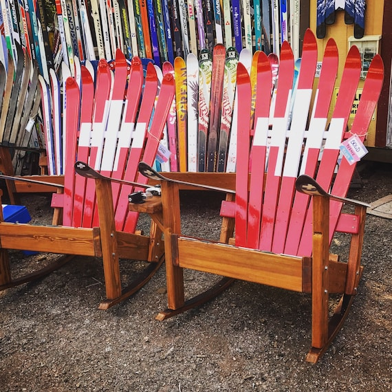 Fantastic Set Of 2 Adirondack Rocking Chairs Ski Patrol Painted Rocking Chair Patio Chair Deck Chair Swiss Army Flag Adirondack Rocker Pdpeps Interior Chair Design Pdpepsorg