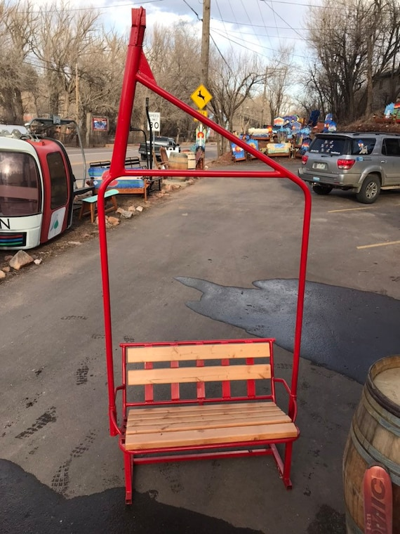 Cool Fully Repurposed Ski Chairlift Bench With Wooden Seat Powder Coated Regal Red Original Chairlift From Arapahoe East In Colorado Caraccident5 Cool Chair Designs And Ideas Caraccident5Info