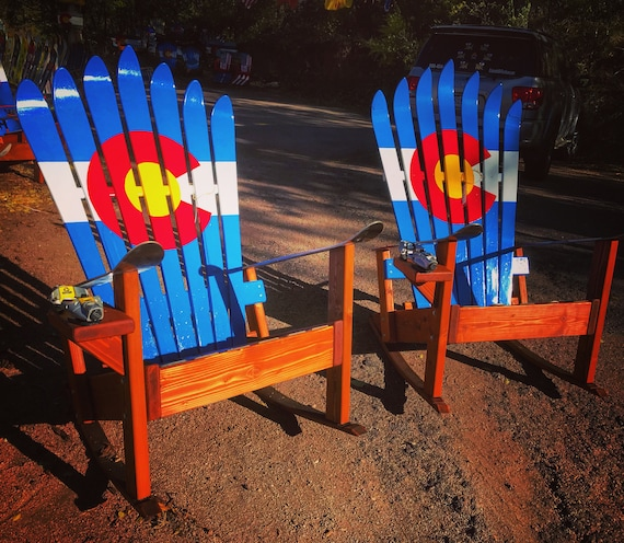 Excellent Two Hand Painted Adirondack Rocking Chairs Colorado Flag Ski Rocker Wood Patio Chair Fire Pit Chairs Unique Gifts Wood Rocking Chair Pdpeps Interior Chair Design Pdpepsorg