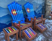 Set of 6 - (2) Custom Colorado Mountain Mural Chairs Adirondack Ski Chairs, (2) matching ottomans, (2) matching side tables
