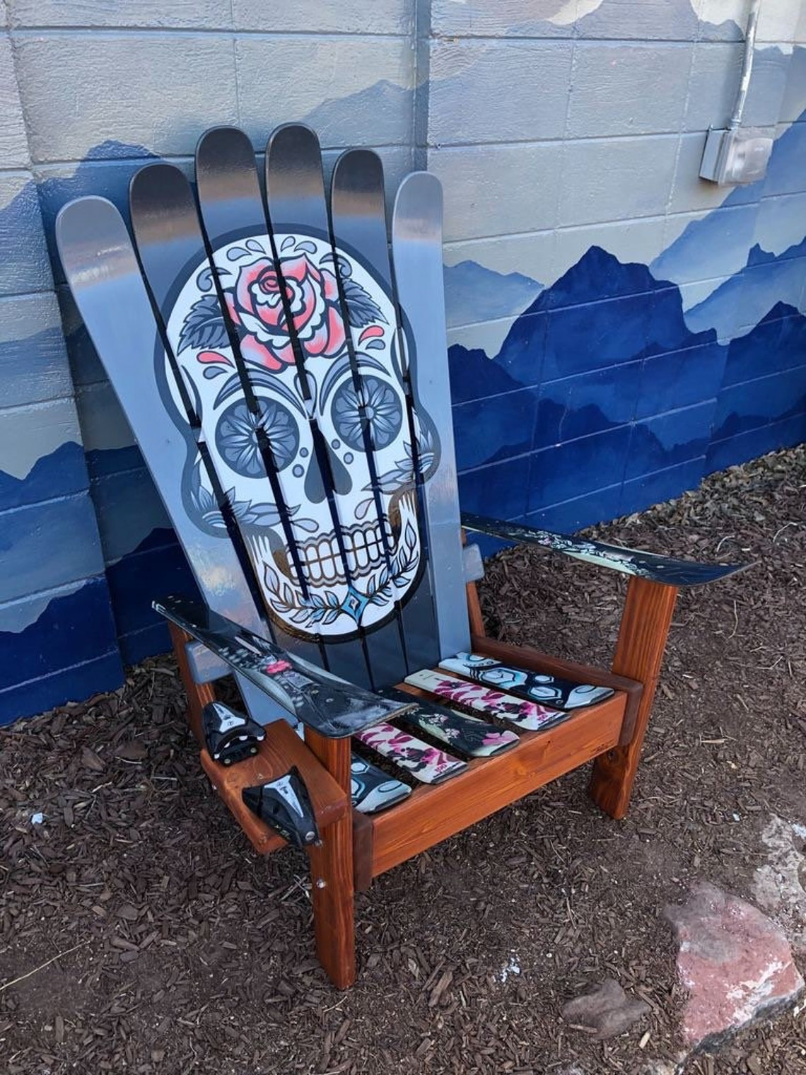 Mexican Sugar Skull/ Day of the Dead Ski Chair Hans painted image 1