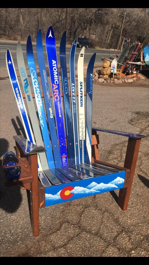 Cross Country Adirondack Ski Chair, Colorado Flag Front Board, Adirondack  Chair, Wooden Chair, Wood Patio Chair, Porch Chairs, Outdoor Chair