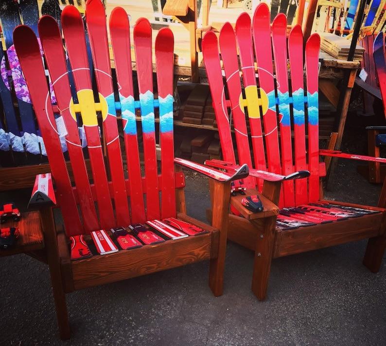 Superieur TWO Custom Red Adirondack Ski Chairs, Colorado Flag Plus Mountains And  Night Sky, Recycled Ski Chair, Douglas Fir