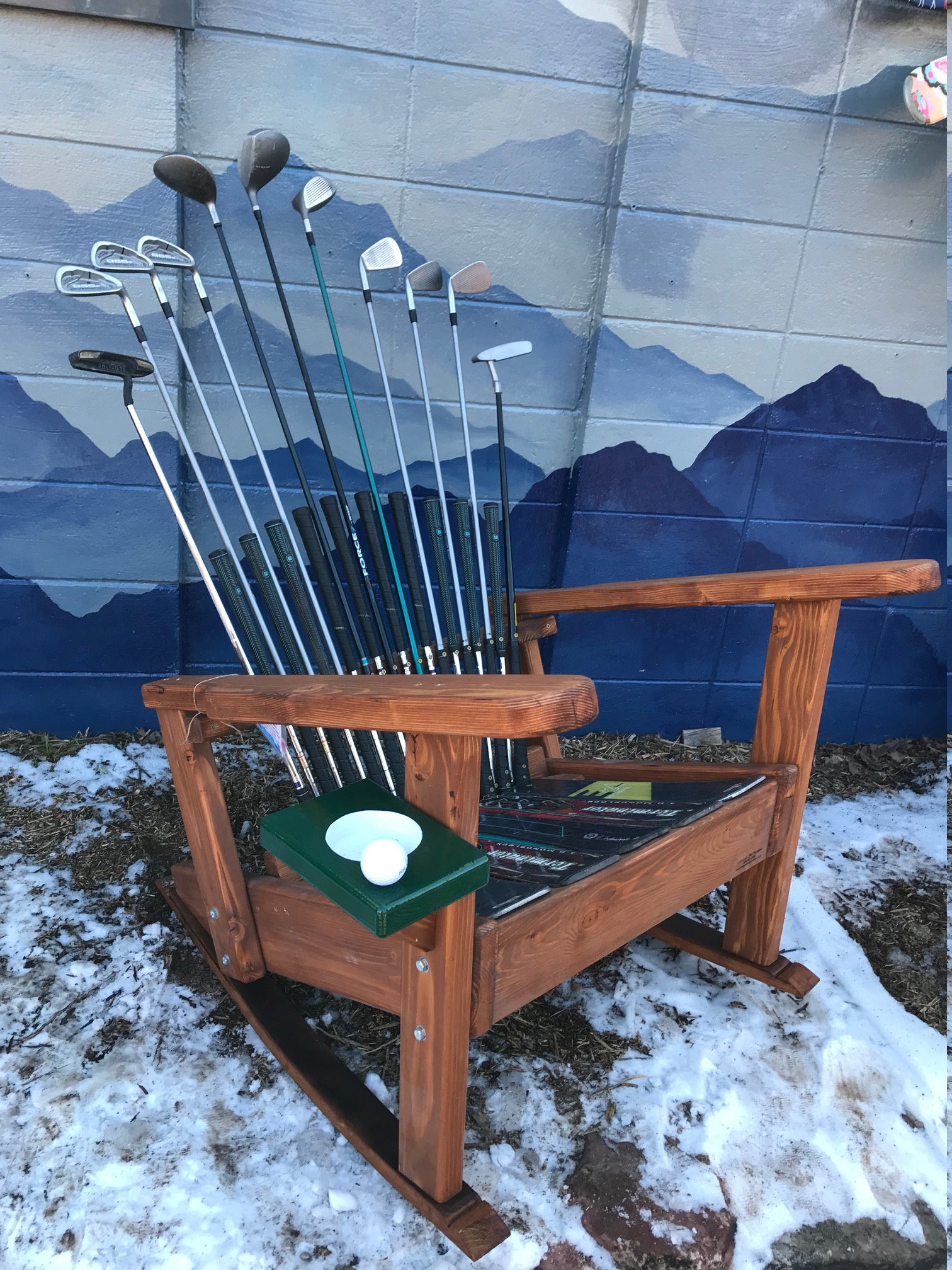 Adirondack Golf Rocking Chairs Deluxe With Putting Green Cupholder