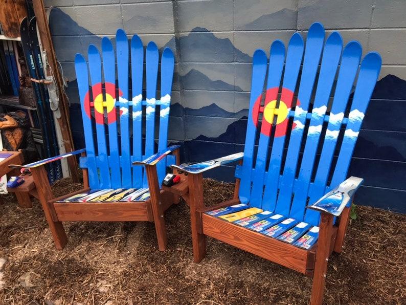 Merveilleux Two Adirondack Ski Chairs, Colorado Mountains, Adirondack Recycled Ski  Chair, Patio Chair, Outdoor Chairs, Porch Furniture