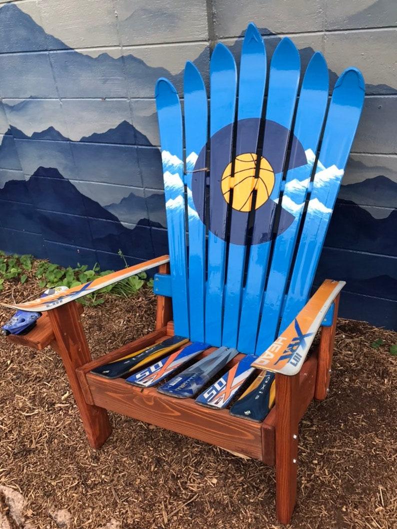 Denver Colorado Basketball Adirondack Ski Chairs   Made With Original Skis   Adirondack Chair, Ski Chair, Basketball , Nba, Jokic, 5280