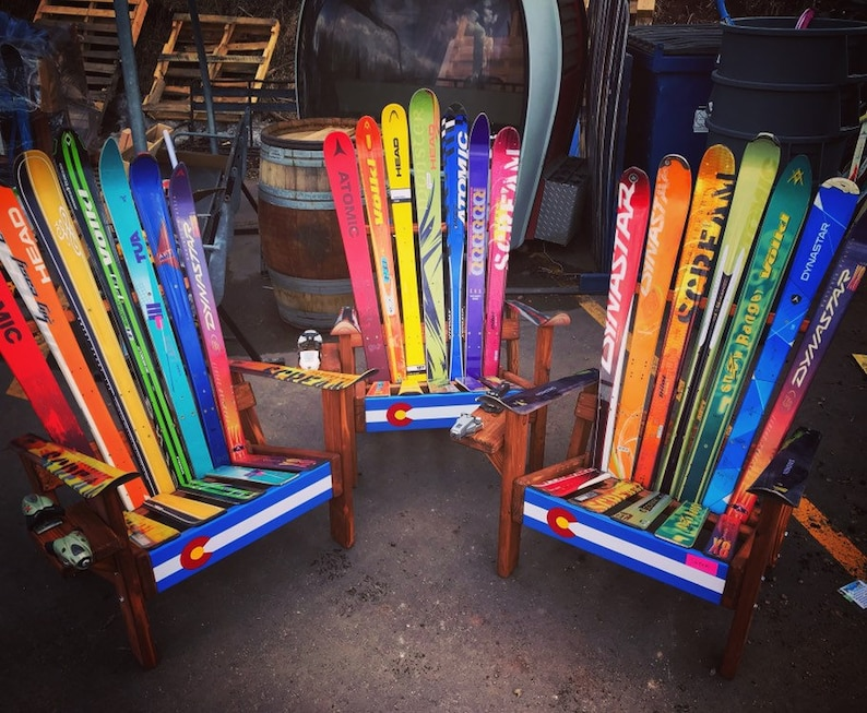 Genial Set Of 3   Colorado Ski Chairs   Original Skis With CO Flag Front Boards