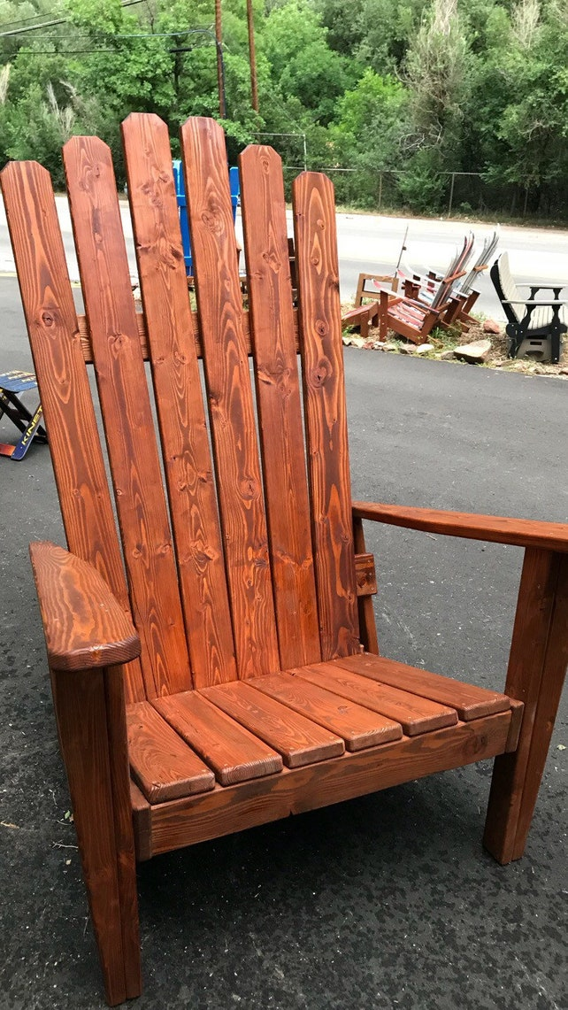 Ordinaire Custom Redwood Stained Adirondack Chair Oversized Chair | Etsy