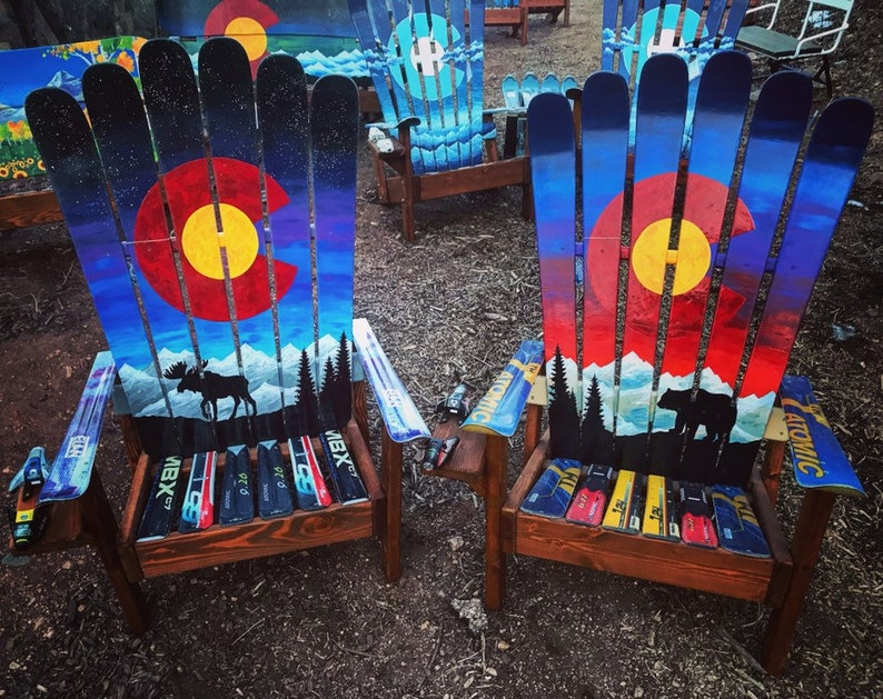 Set Of 2 Chairs  Colorado Themed Adirondack Ski Chairs, Bear U0026 Moose Mural  Painted Sunset, Night Sky Mural Ski Chairs, Outdoor Furniture