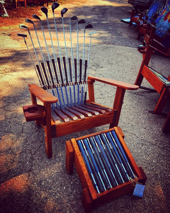 Phenomenal Deluxe Adirondack Chair With Ottoman Golf Club Chair Unique Patio Chairs Wood Adirondack Chair Wooden Chair Set Porch Chair Golf Lover Gmtry Best Dining Table And Chair Ideas Images Gmtryco