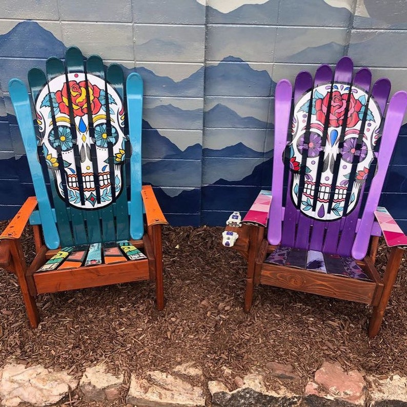 Set of 2 Mexican Sugar Skull/ Day of the Dead Ski Chair Hans image 0