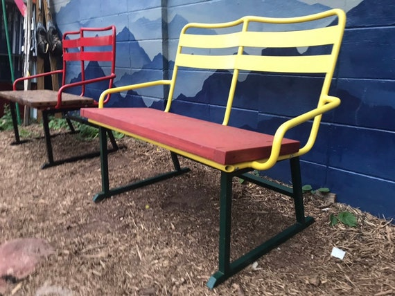 Brilliant Re Purposed Ski Chairlift Bench Rasta Colors Powder Coated Yellow Green Red Original Chairlift Aspen Ski Lift Bench Outdoor Seating Ocoug Best Dining Table And Chair Ideas Images Ocougorg