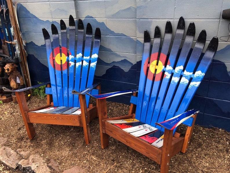 Incroyable Set Of Two Custom Adirondack Ski Chairs, Colorado Flag Plus Mountains And  Night Sky, Recycled Ski Chair, Hand Crafted Douglas Fir Wood Chair